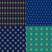 Vector set of seamless patterns of simple shapes on the Christmas theme — Stockvektor