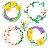 Set of spring cartoon vector flowers — Stock Vector