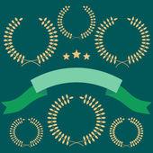 Set of laurel wreath on green — Stock Vector