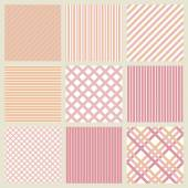 Set of pink seamless geometric striped patterns — Stock Vector