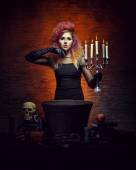 Young and beautiful witch making witchcraft — Stock Photo