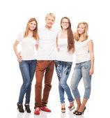 Group of young stylish happy teenagers — Stock Photo