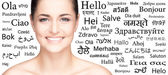 Woman over different world languages — Stock Photo