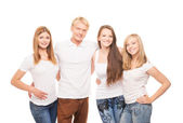 Group of young stylish happy teenagers — Foto Stock