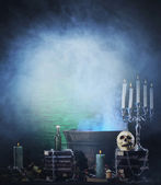 Halloween background with different witchcraft tools — Stock Photo