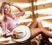Young, happy and sexy naked cowgirl — Stock Photo