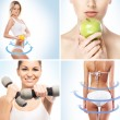 Sport dieting fitness collage — Stock Photo #55750013