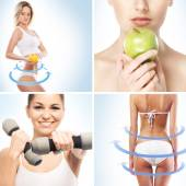 Sport dieting fitness collage — Foto Stock