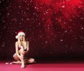 Woman in Christmas lingerie — Stock Photo