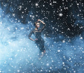 Woman over Christmas background — Stock Photo