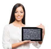 Woman with   tablet — Stock Photo