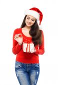 Young and sexy woman in a Christmas hat — Stock Photo