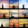Silgouettes of healthy woman meditating outdoor — Stock Photo #62286549