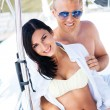 Young and lovely couple relaxing on a boat — Stock Photo #62287935
