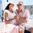 Young and lovely couple relaxing on a boat — Stock Photo #62288051