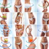 Collage of sexy female bodies. Diet and fitness concept. — Stock Photo