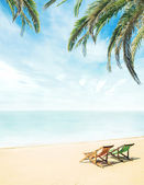 Lounge chairs on tropical beach — Stock Photo