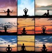 Femme, faire du yoga sur fond de coucher de soleil — Photo