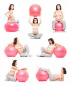 Pregnant woman with fitness ball — Stock Photo