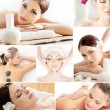 Massage and skin care collage with women — Stock Photo #76425245