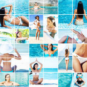 Women relaxing in pool and on beach — Stock Photo