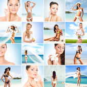 Fitness women in swimsuits on beach — Stock Photo