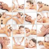 Spa and massage collage with young woman — Stock Photo