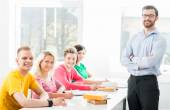 Teenage students studying at  lesson — Stock Photo