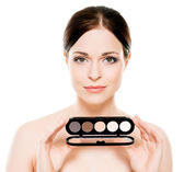 Woman with makeup palette — Stock Photo