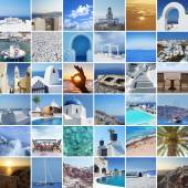 Set of different Santorini photos. Rest and traveling in Greece concept — Stock Photo