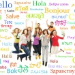 Group of teenagers with many words — Stock Photo #79650346