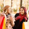 Two girls having a pleasant talk while walking the autumn park — Stock Photo #83375792