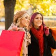 Two girls having a pleasant talk while walking the autumn park — Stock Photo #83375310
