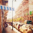 Blurred image of city street at sunset — Stock Photo #53537861