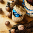 Christmas decoration with walnuts and squirrel — Stock Photo #55346701