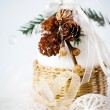 Decoration with snowy cones and white baubles — Stock Photo #55346739