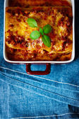 Italian Food. Lasagna plate. Top view. — Foto Stock
