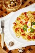 Spaghetti with carbonara sauce — Stock Photo