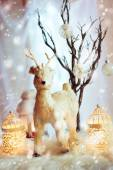 Christmas decoration with fairy white deer — Stock Photo