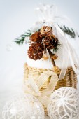 Decoration with snowy cones and white baubles — Foto Stock