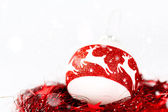 Christmas composition in white and red colors — Stock Photo
