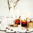 Christmas background with mulled wine — Stock Photo #57286211