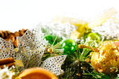 Christmas background with bright decoration — Stock Photo