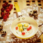 Fresh Breakfast with fried eggs pan — Stock Photo