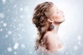 Beautiful girl with glamour Christmas makeup — Stock Photo
