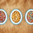 Colorful easter background with different sweets  — Stock Photo #65528247