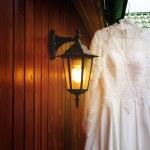 White wedding dress ready for bride — Stock Photo #66858551