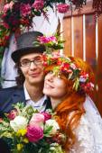 Cheerful young married couple — Stock Photo