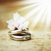 Wedding rings close up in rustic style — Stock Photo
