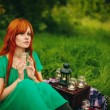 ������, ������: Beautiful red hair girl with deep green eyes